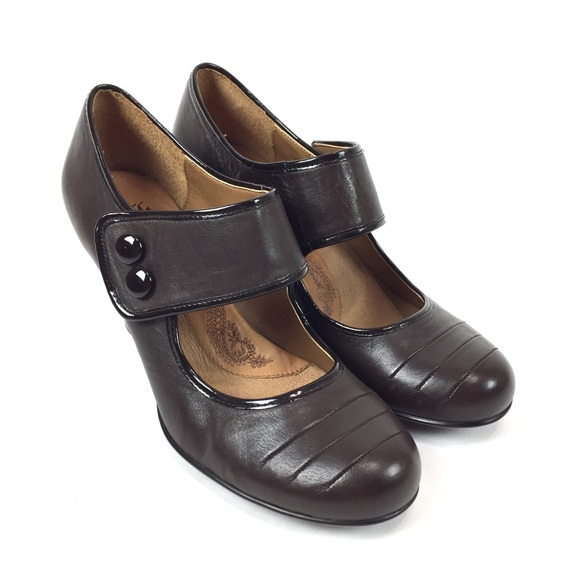 57c73499d09e Sofft Heels Brown Leather Mary Jane Women s Sz 10
